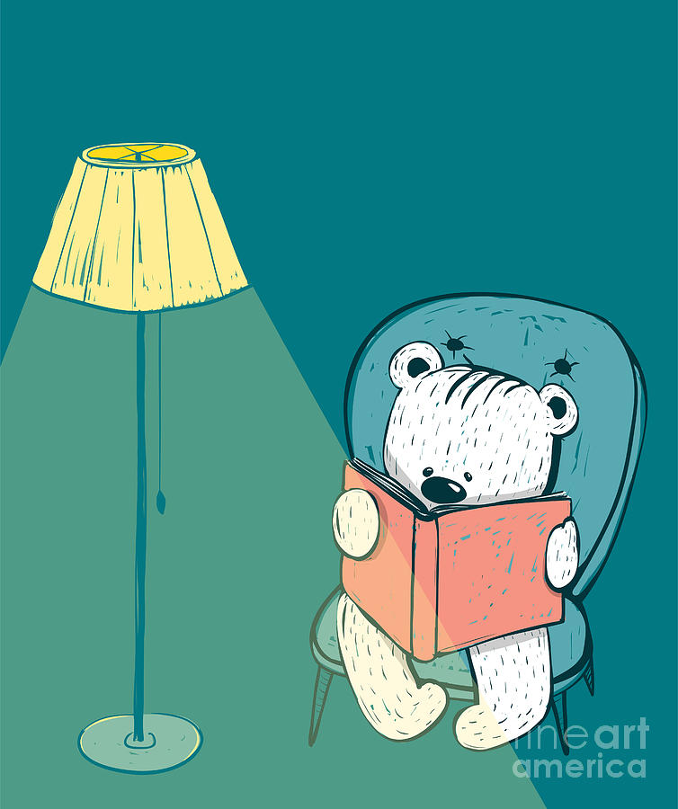 Sketchy Digital Art - Cartoon Baby Bear Reading A Book. Hand by Popmarleo