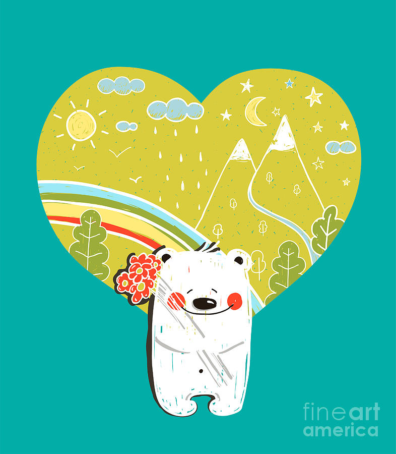 Forest Digital Art - Cartoon Baby Bear With Nature Heart by Popmarleo