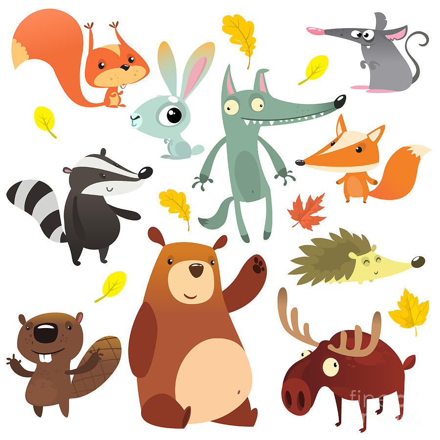 Grizzly Digital Art - Cartoon Forest Animal Characters. Wild by Drawkman
