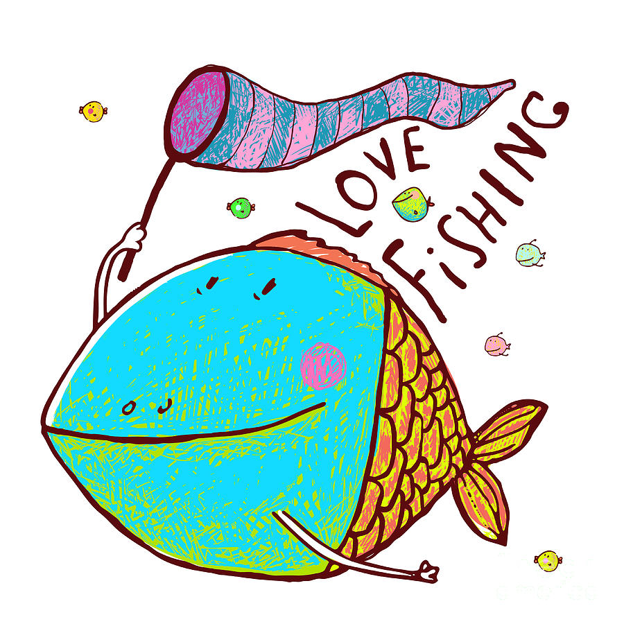 Love Digital Art - Cartoon Funny Fish Greeting Card Design by Popmarleo
