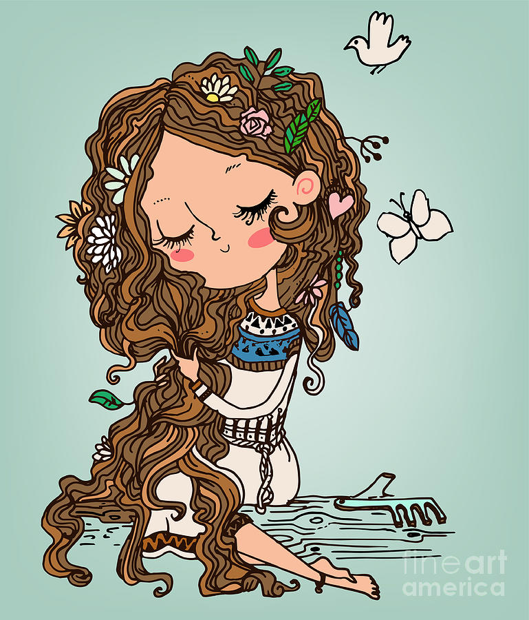 Dress Digital Art - Cartoon Girl With Long Hairs by Elena Barenbaum