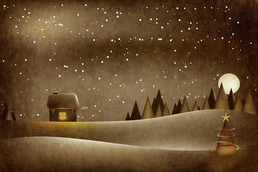 Cartoon Illustration Of A Christmas Photograph by Rontech2000