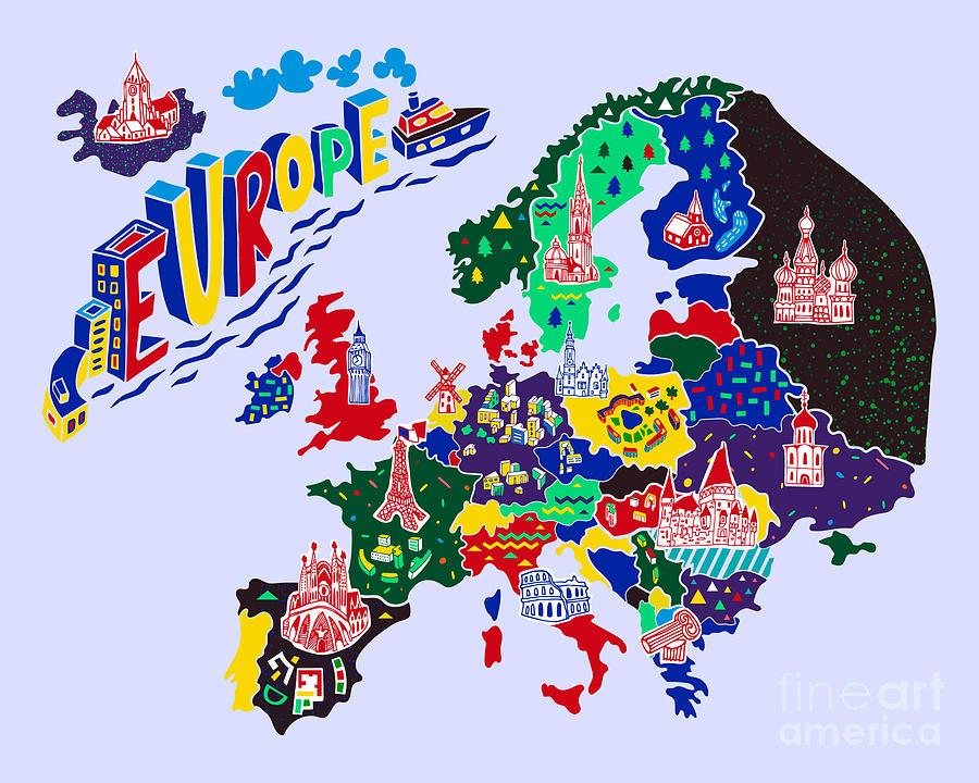Country Digital Art - Cartoon  Map Of Europe. Travels by Daria i