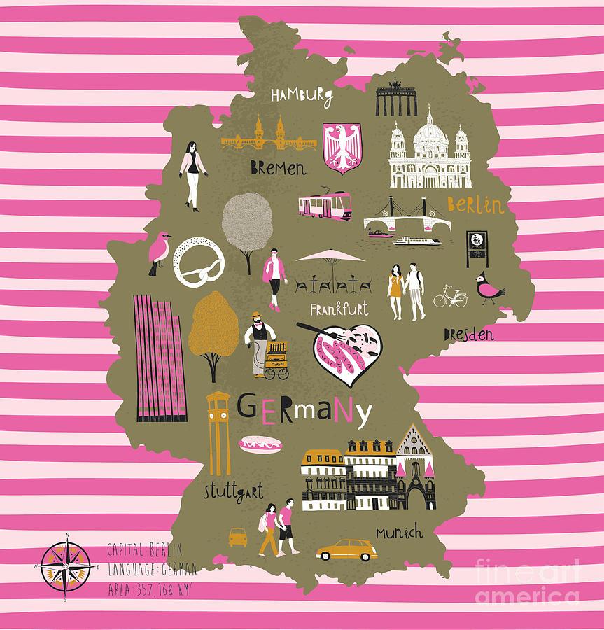 German Digital Art - Cartoon Map Of Germany With Legend Icons by Lavandaart