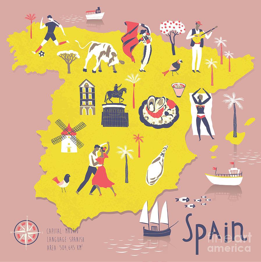 Symbol Digital Art - Cartoon Map Of Spain With Legend Icons by Lavandaart