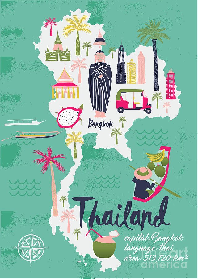 Country Digital Art - Cartoon Map Of Thailand. Print Design by Lavandaart