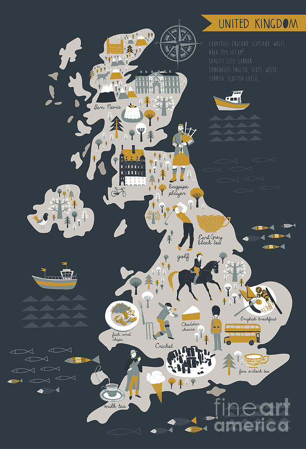 Bus Digital Art - Cartoon Map Of United Kingdom With by Lavandaart