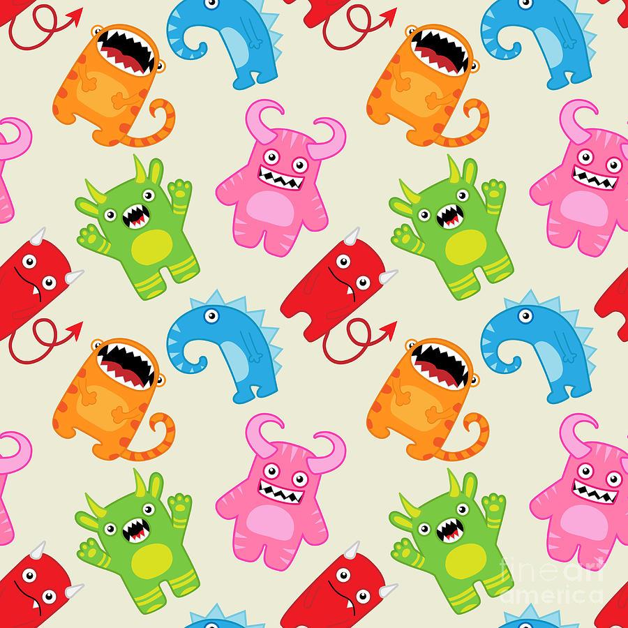 Happy Digital Art - Cartoon Monsters Seamless Pattern by Yulia M