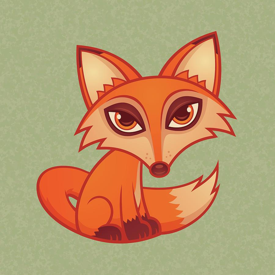 Cartoon Red Fox Digital Art