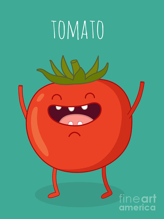 Soup Digital Art - Cartoon Tomato With Eyes And Smiling by Serbinka