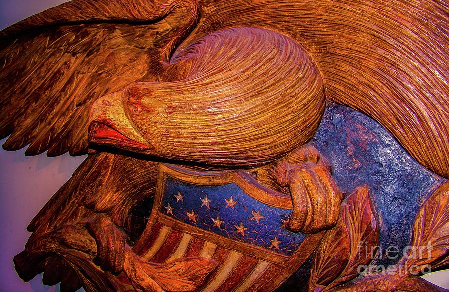 Carved Photograph - Carved Wood - Eagle by D Davila