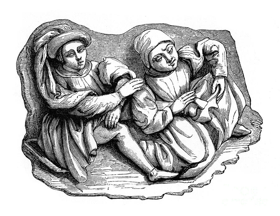 Carved Wood Relief, 15th Century, 1870 Drawing by Print Collector