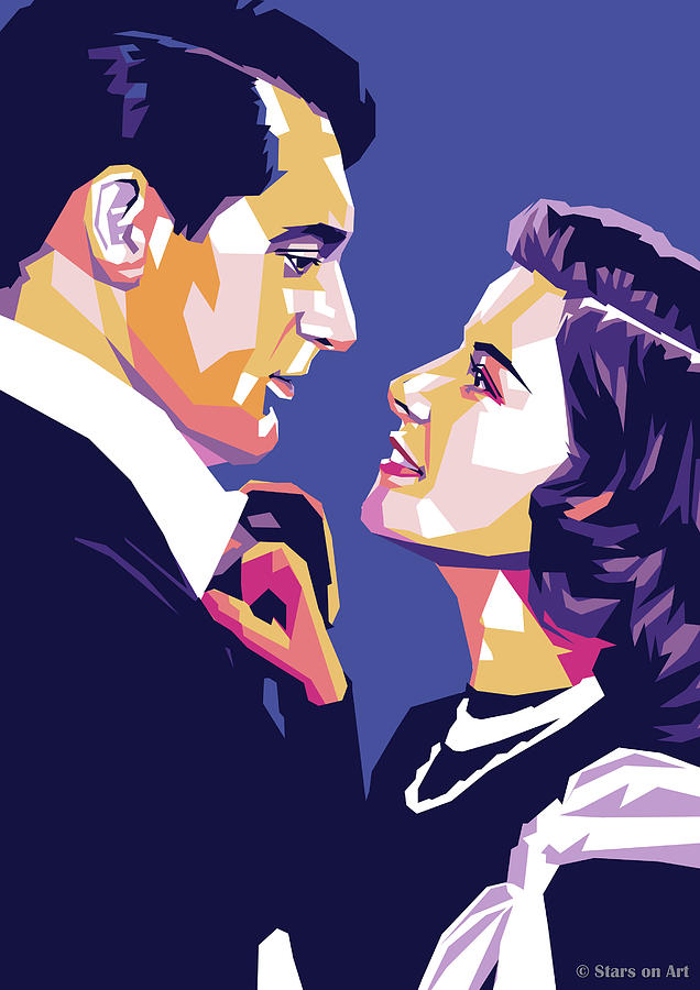 Cary Grant And Katharine Hepburn Painting