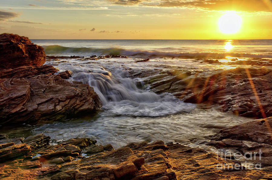 Cascading Sunset at Crystal Cove by Eddie Yerkish
