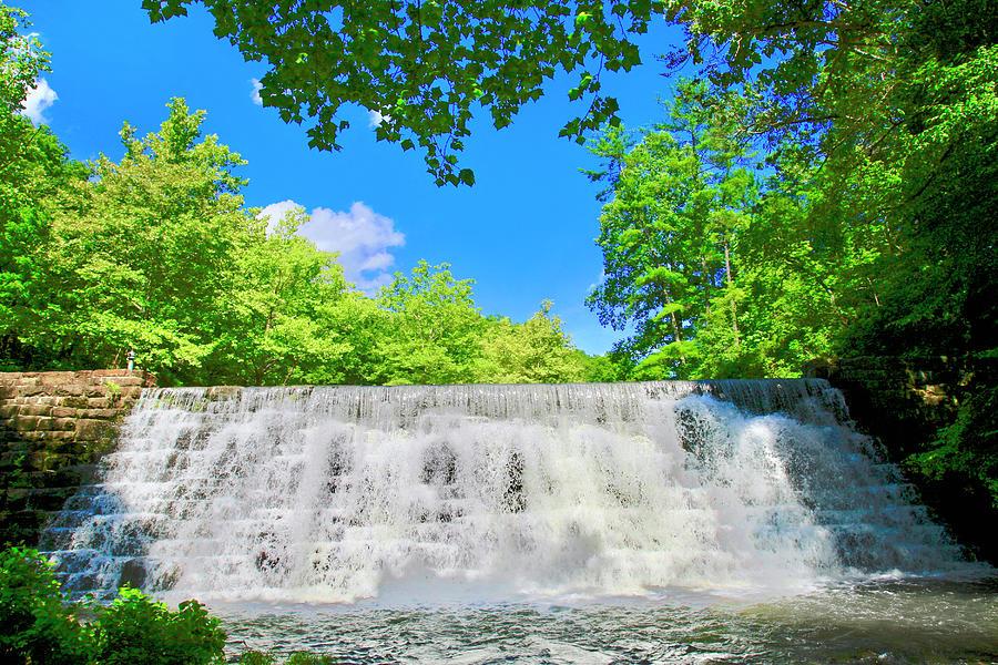 Cascading Waterfalls Over Weir Dam Blue Ridge Parkway Virginia by James B Roney