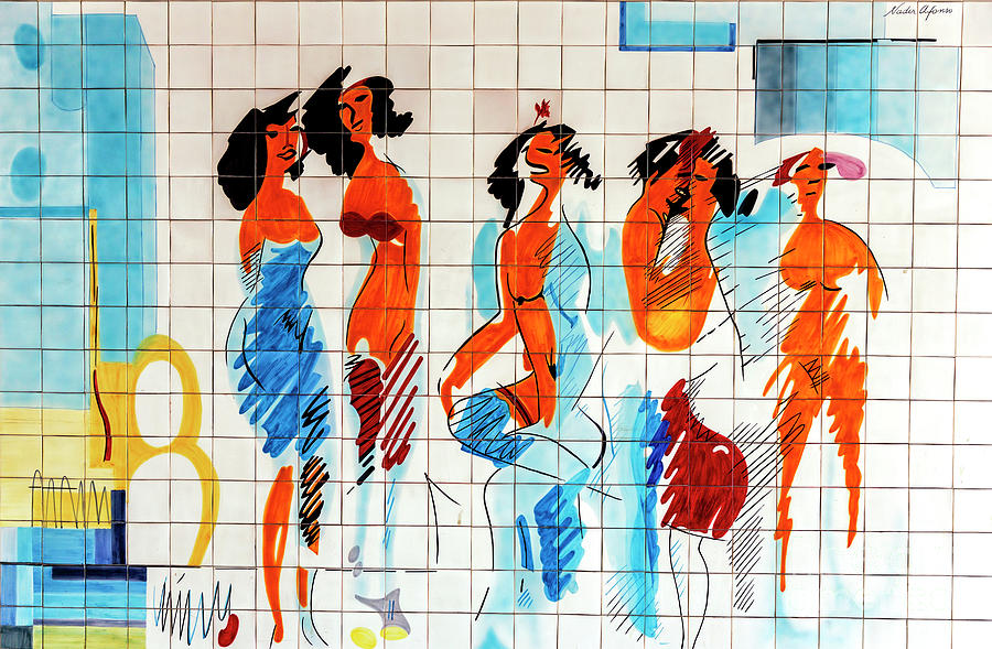 Cascais Abstract Tile Art Number Four by John Rizzuto