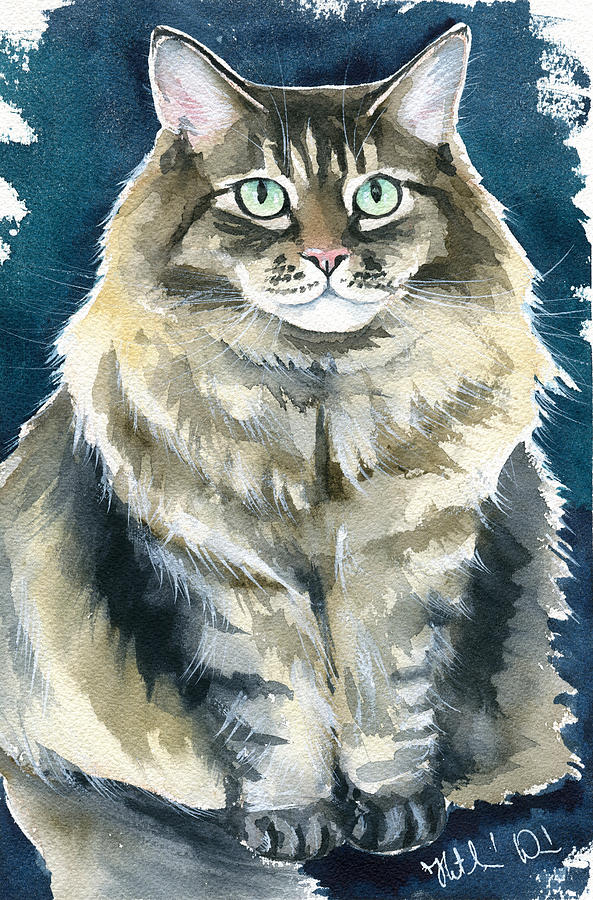 Casey Cat Painting by Dora Hathazi Mendes