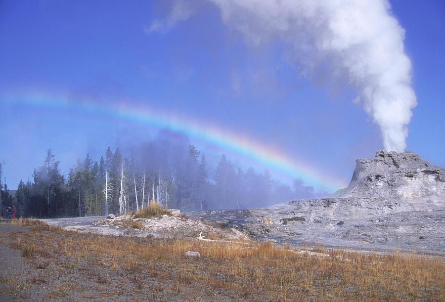 Castle Geyser Photograph - Castle Geyser And Rainbow by David Hosking