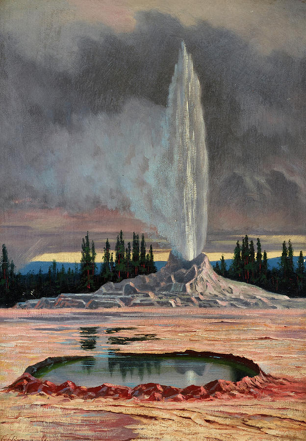 Brown Painting - Castle Geyser, Yellowstone Park, 1891 by Grafton Tyler Brown
