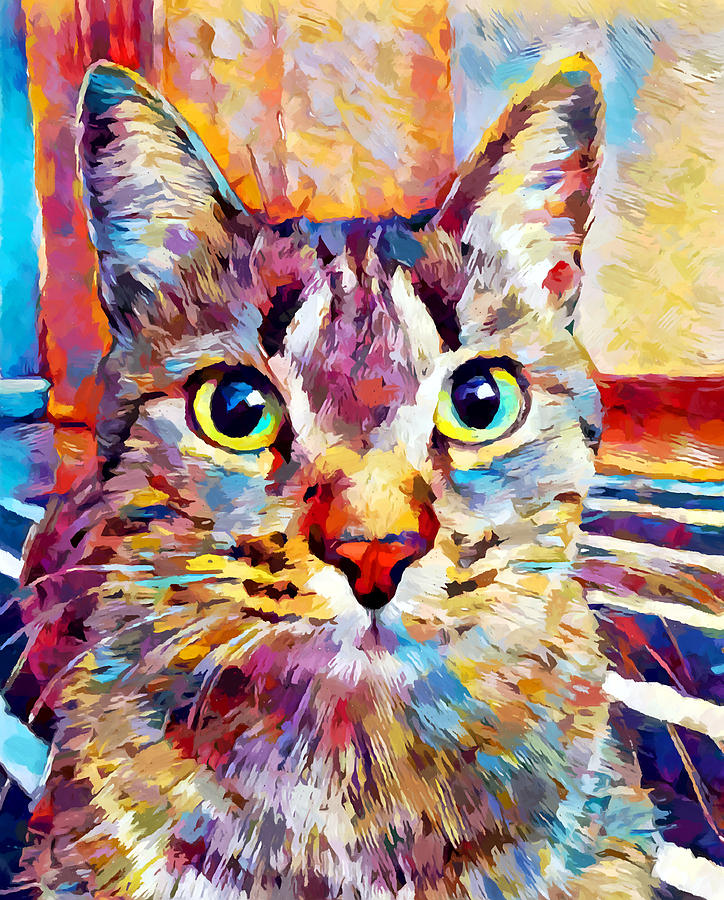 Animal Painting - Cat 13 by Chris Butler