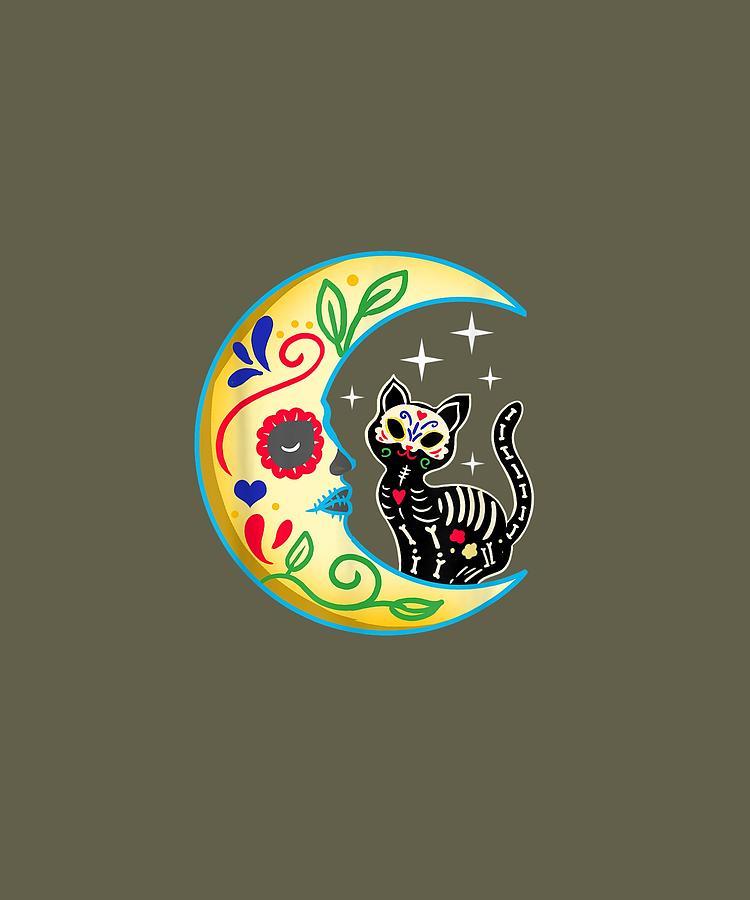 Cat Sugar Skull Youth/'s T-Shirt Day Of The Dead Día de Muertos Skeleton Shirts
