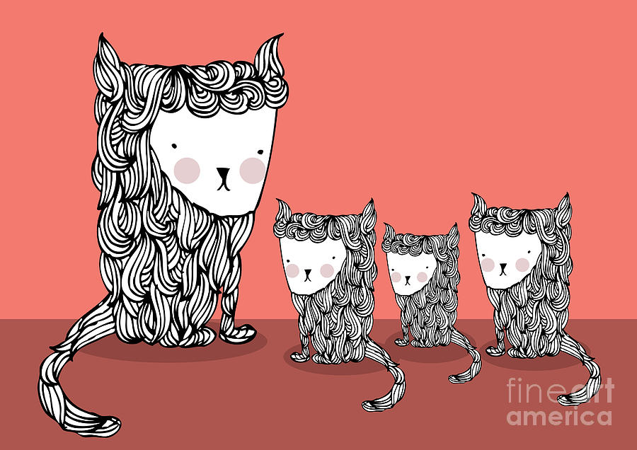 Fur Digital Art - Cat And Kittens Illustrationvector by Lyeyee