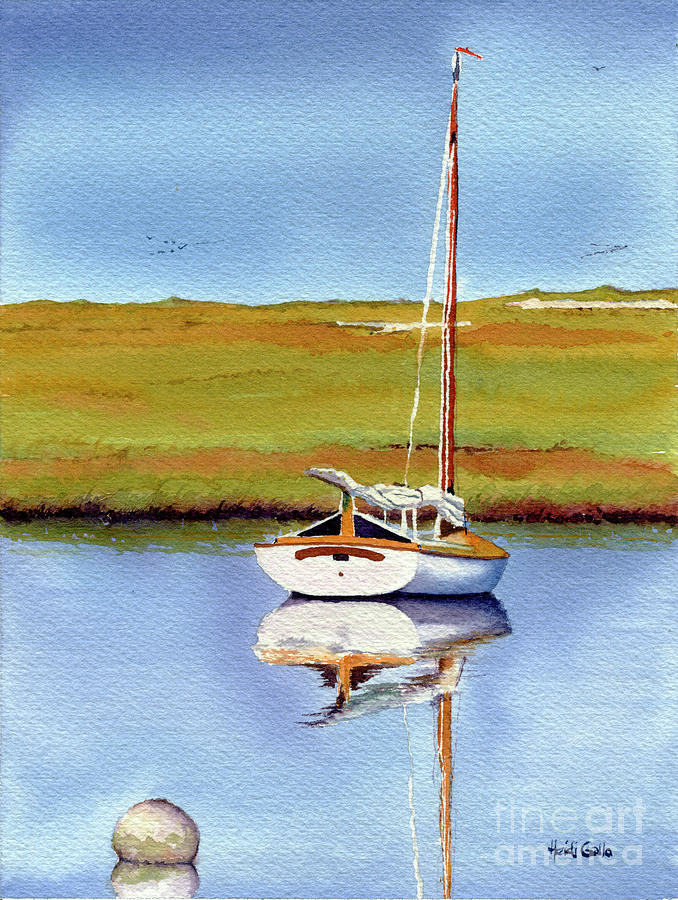 Cat Boat by the Marsh by Heidi Gallo
