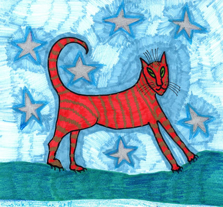Cat Drawing - Cat by Starlight by Sushila Burgess