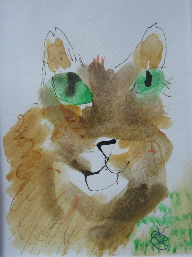cat face yellow brown with green eyes by AJ Brown