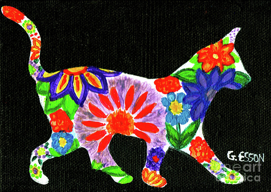 Cat In Floral Silhouette by Genevieve Esson