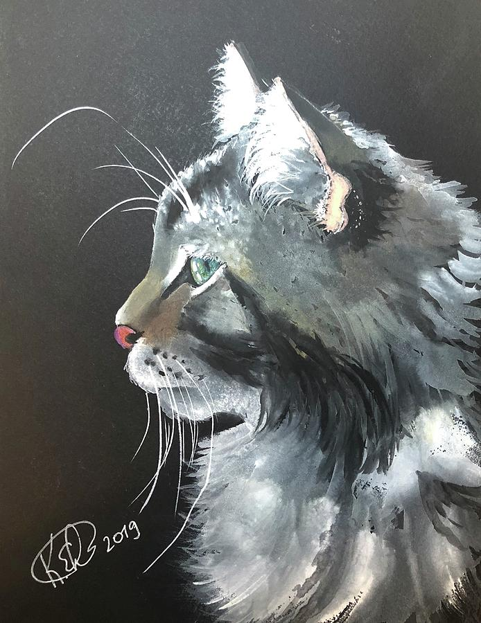 Cat Painting - Cat In Profile by Katrina Ebersole