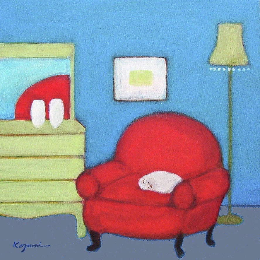 Cat in Red Chair by Kazumi Whitemoon