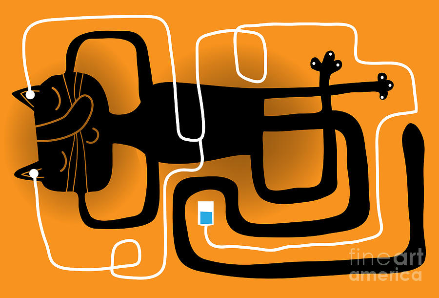 Symbol Digital Art - Cat In Relax Posture With A Music Player by Complot