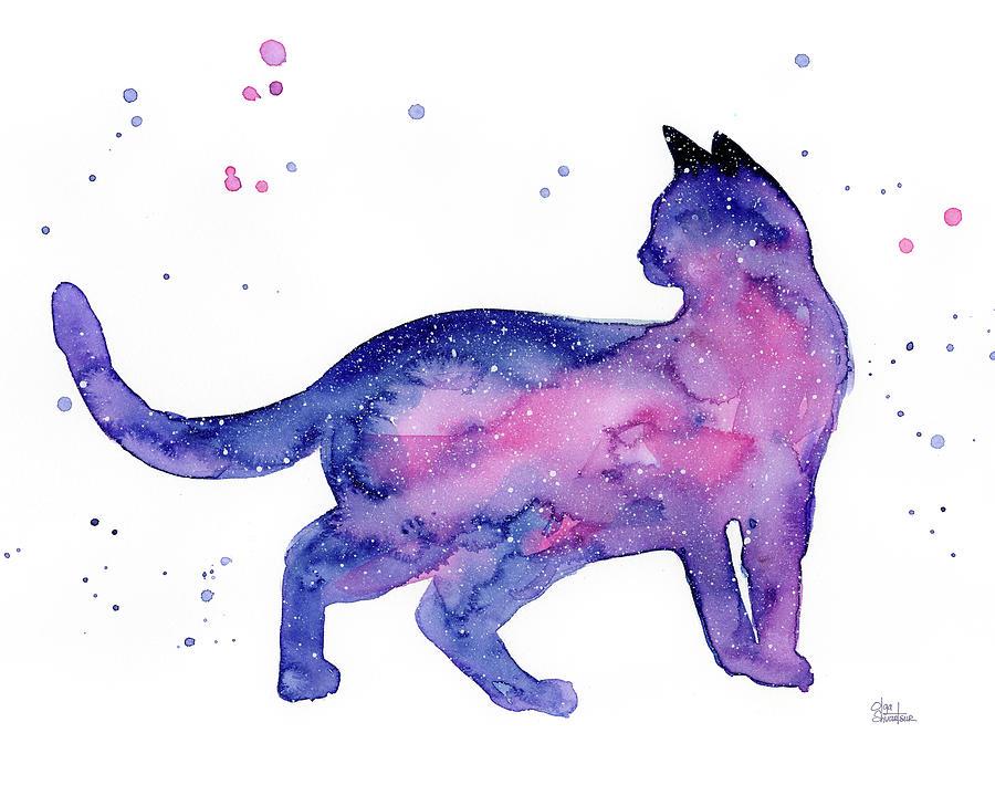 Cat Painting - Cat In Space by Olga Shvartsur