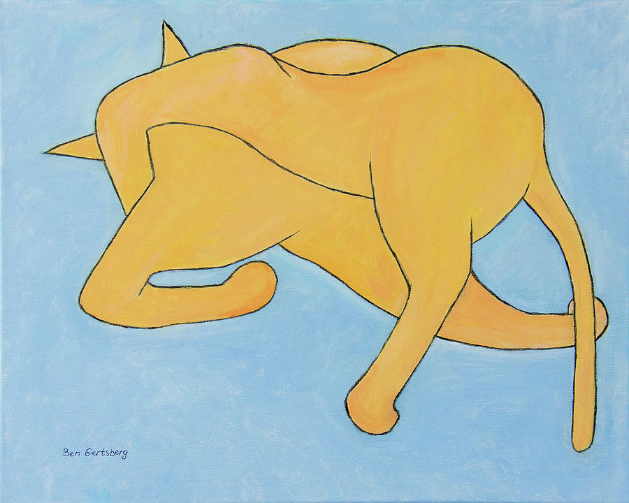 Cat In Yellow On Blue by Ben Gertsberg