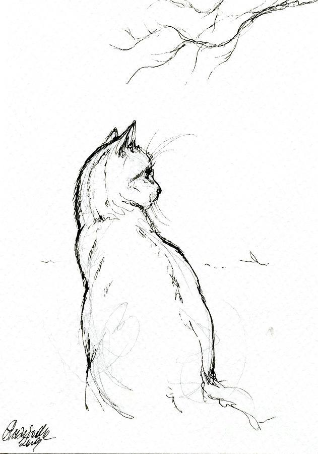 Cat ink drawing 2019 04 28 by Angel Ciesniarska