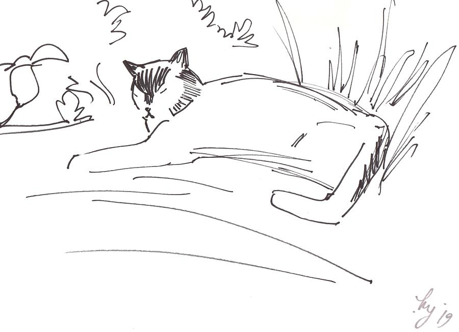 Cat lying down illustration by Mike Jory