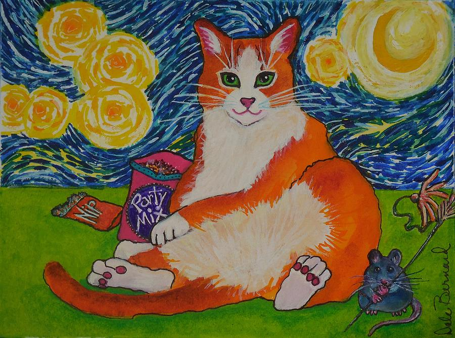 Cat Painting - Cat Nipped  by Dale Bernard