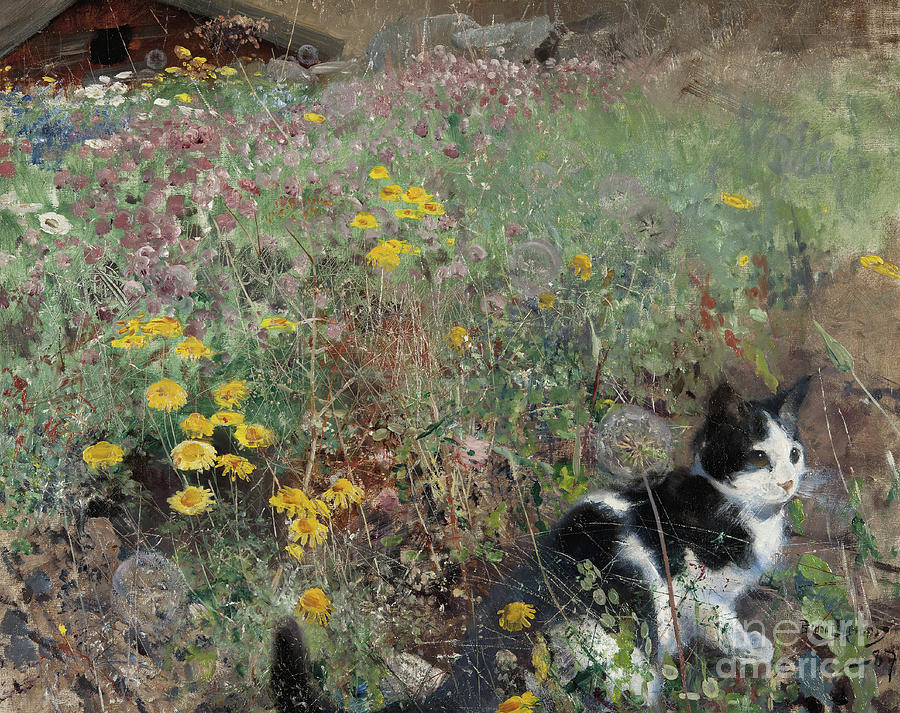 Meadow Painting - Cat On A Flowery Meadow, 1887 by Bruno Andreas Liljefors