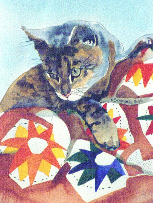 Cat On A Quilt by Edie Schneider