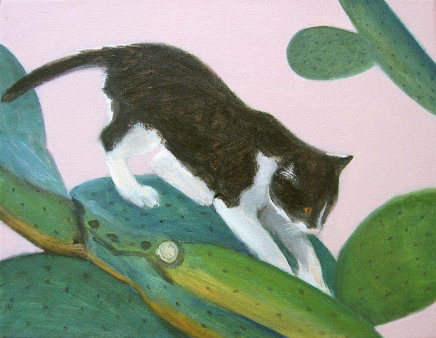 Cat on Cactus by Kazumi Whitemoon