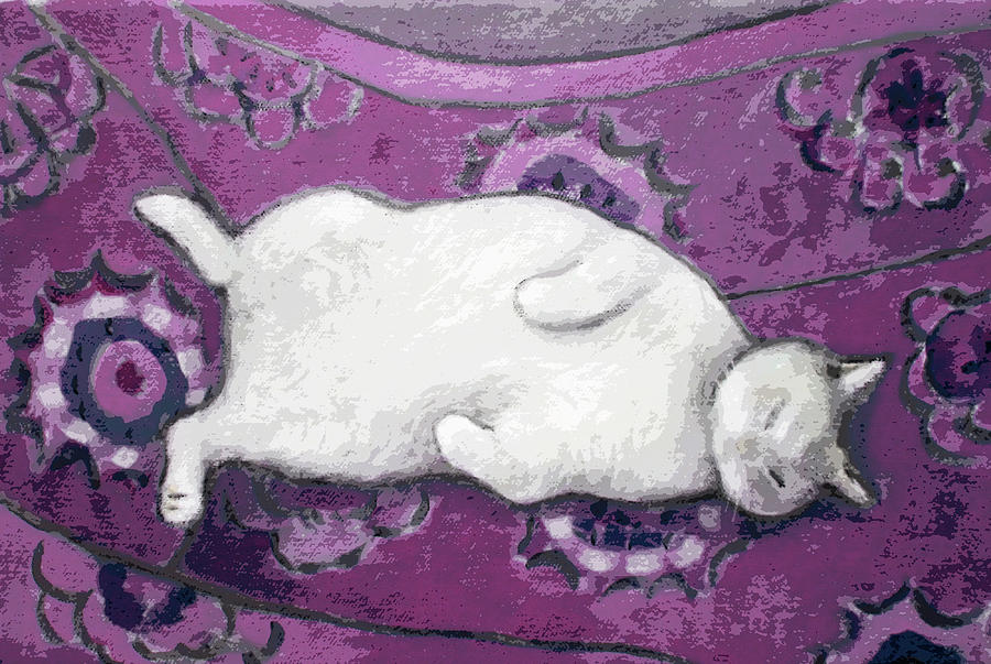 Cat on Purple Chair by Kazumi Whitemoon