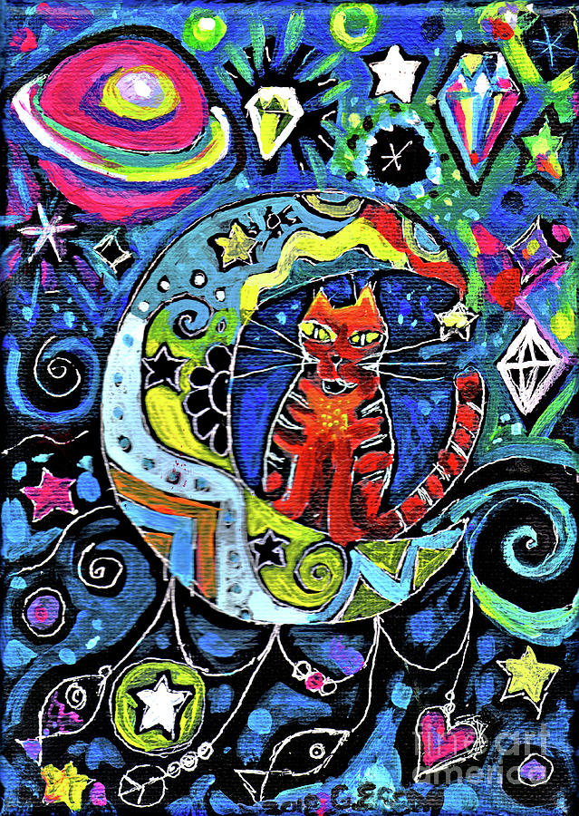 Cat Painting - Cat On A Crescent Moon With Diamonds by Genevieve Esson