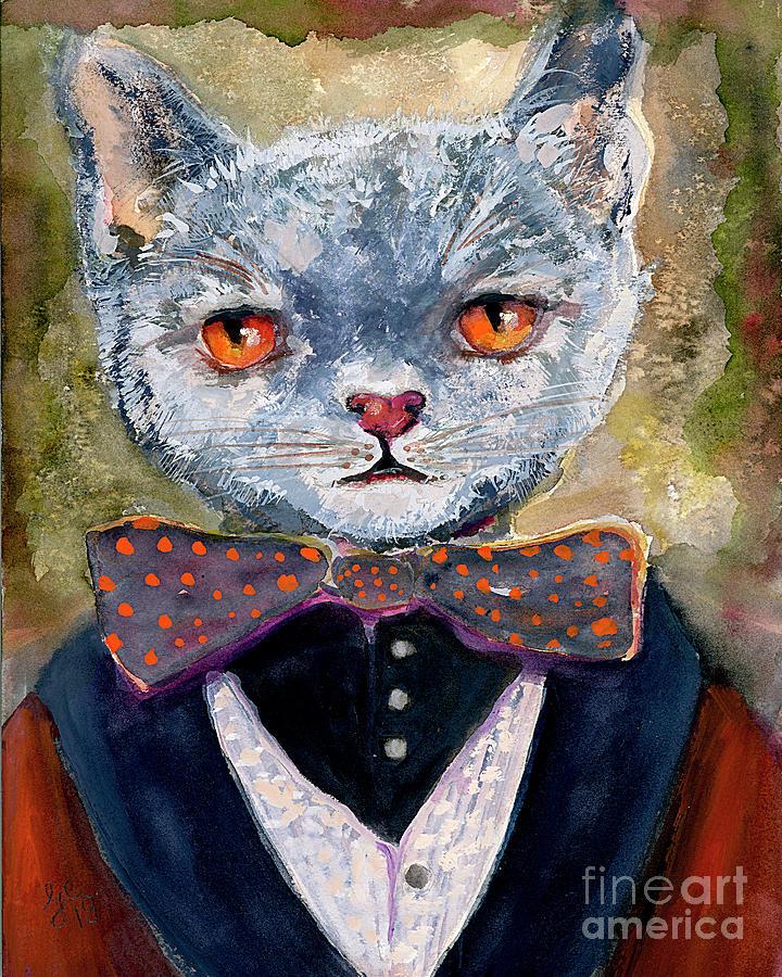 Cat Portrait Einstein Painting by Ginette Callaway