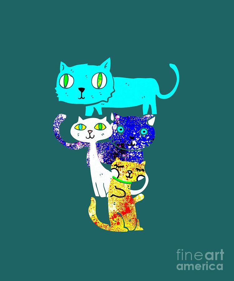Cats Mixed Media - Cat Stack by PurrVeyor Com