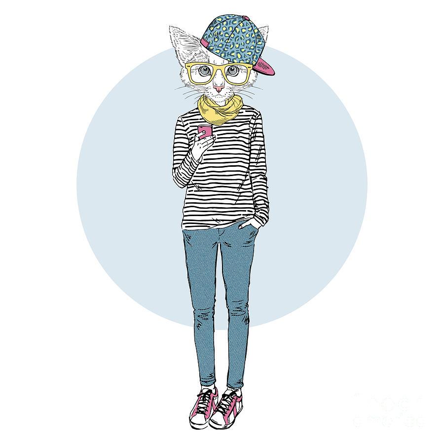 Fancy Digital Art - Cat Teen Girl In Stripy Top With by Olga angelloz