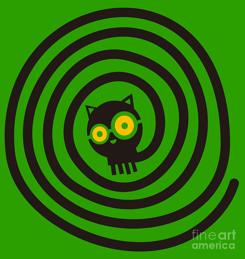 Vignette Digital Art - Cat With Glasses And Spiral Tail by Complot