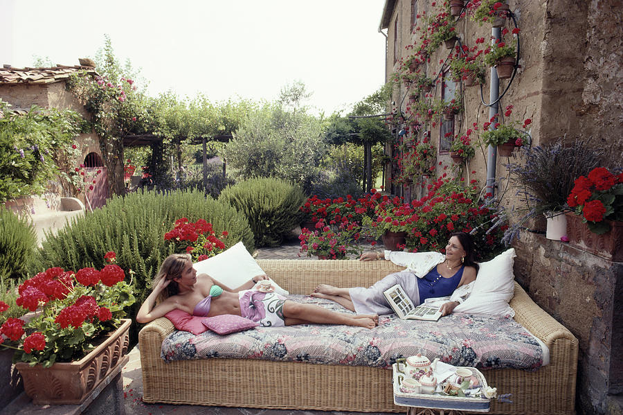 Cataldi And Daughter Photograph by Slim Aarons