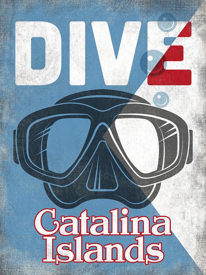 Catalina Islands Digital Art - Catalina Islands Vintage Scuba Diving Mask by Flo Karp