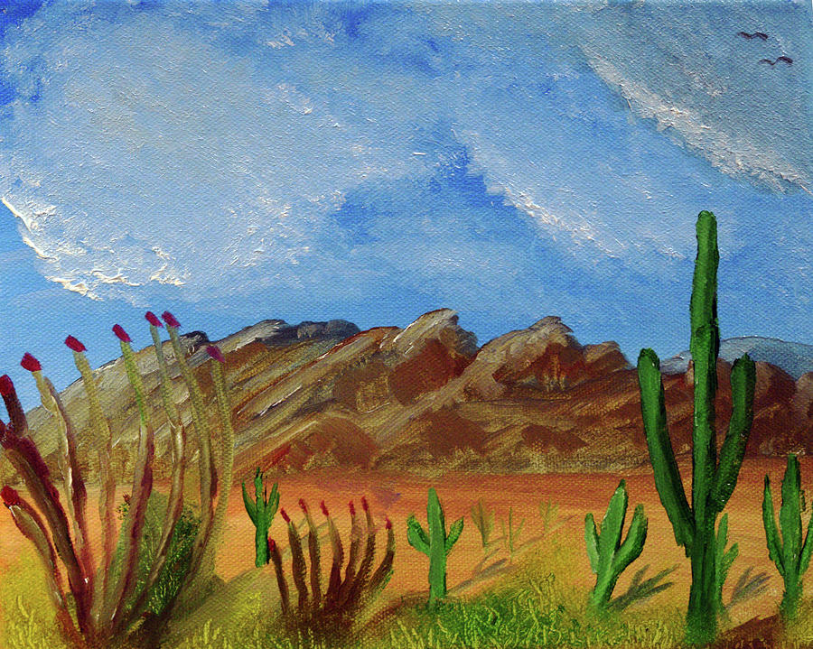 Catalina Mountains And Sonoran Desert Plants Painting By Chance Kafka